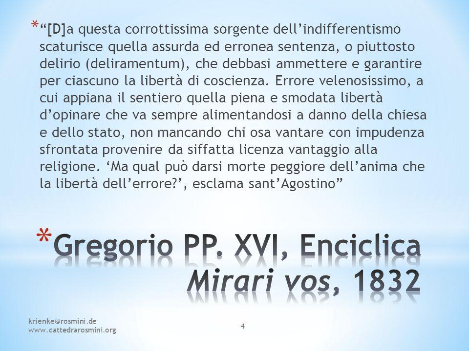 Gregorio PP. XVI, Enciclica Mirari vos, 1832