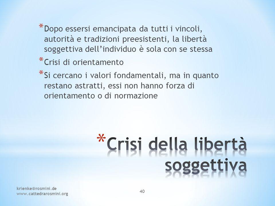Crisi della libertà soggettiva