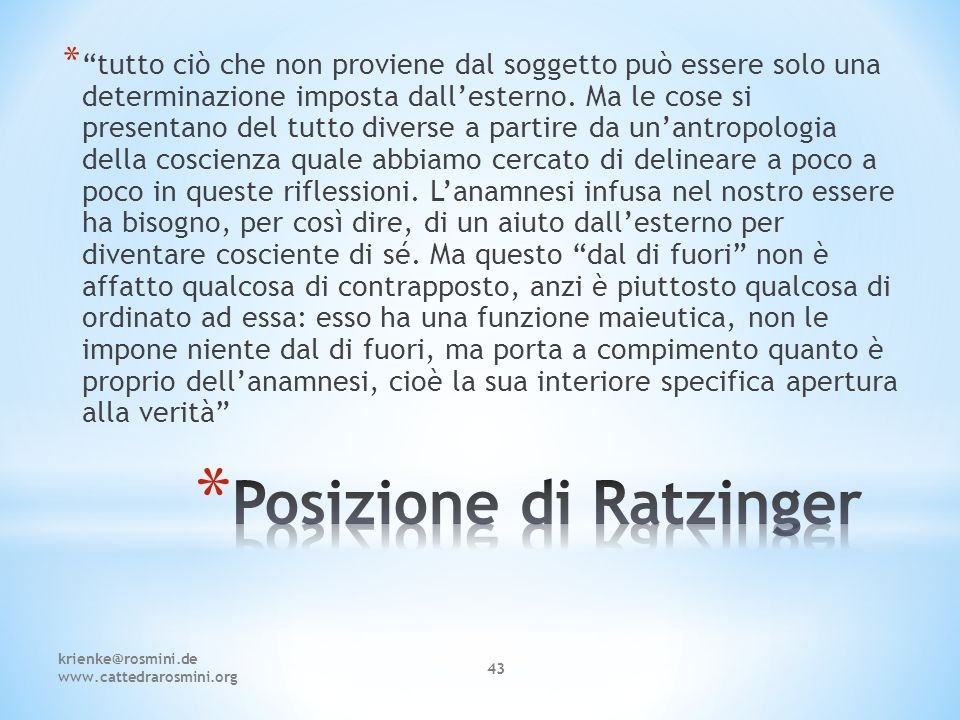 Posizione di Ratzinger