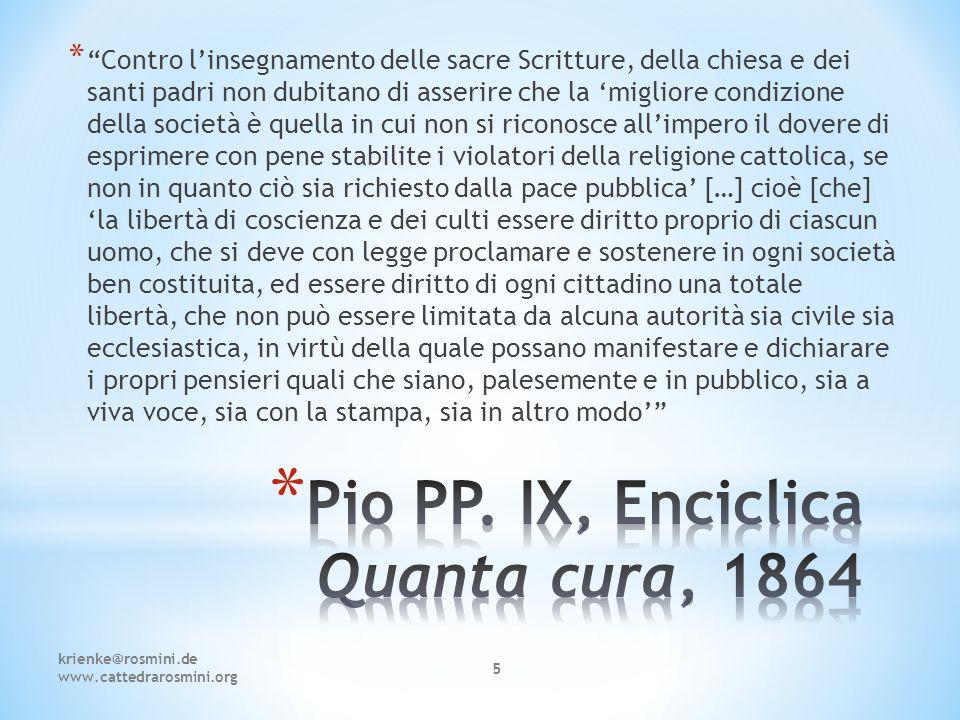 Pio PP. IX, Enciclica Quanta cura, 1864