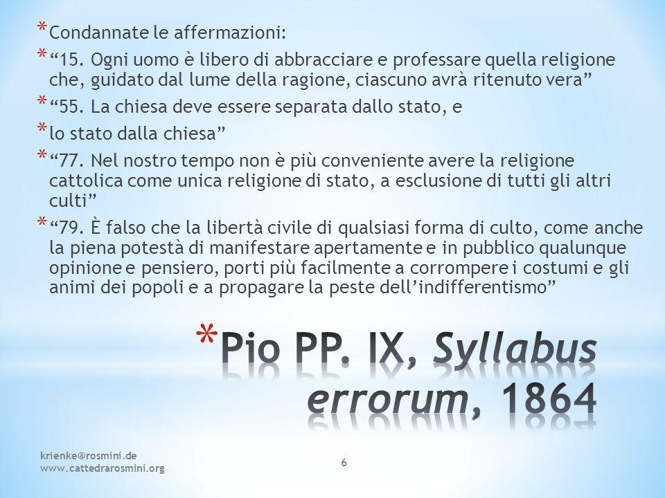 Pio PP. IX, Syllabus errorum, 1864