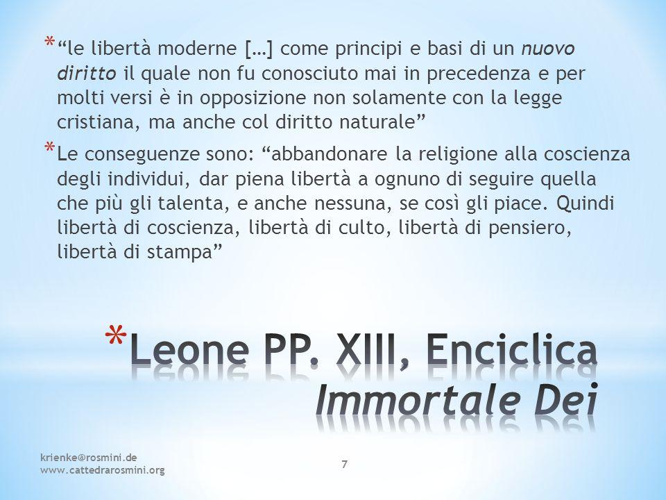 Leone PP. XIII, Enciclica Immortale Dei