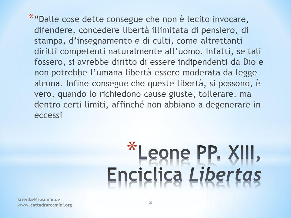 Leone PP. XIII, Enciclica Libertas