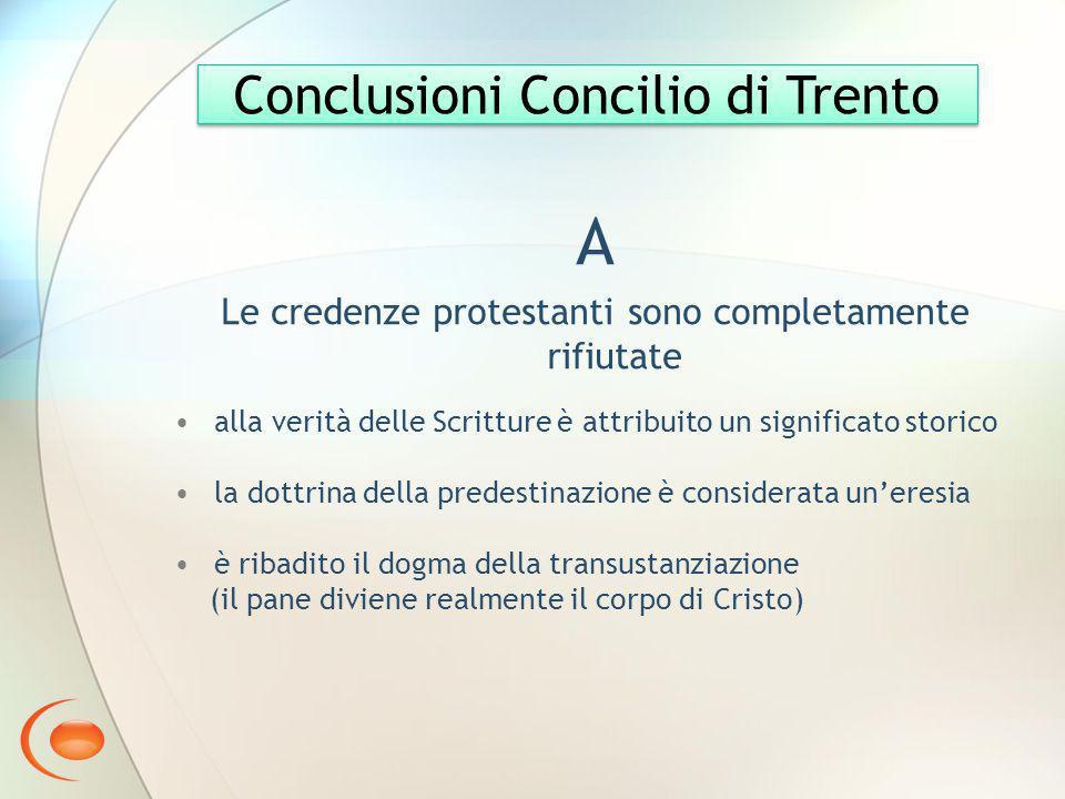 A Conclusioni Concilio di Trento