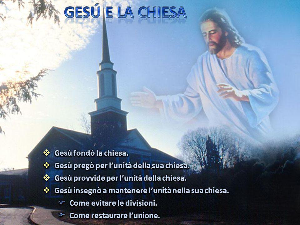 GESÚ E LA CHIESA Gesù fondò la chiesa.