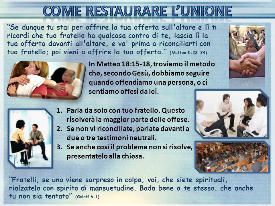 COME RESTAURARE L'UNIONE