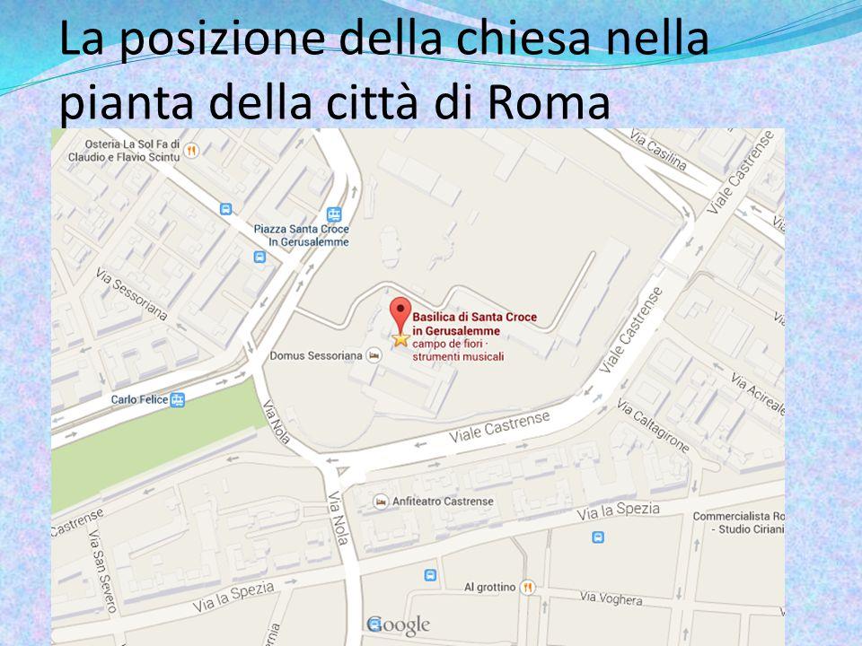La posizione della chiesa nella pianta della città di Roma