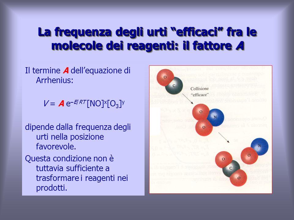 La frequenza degli urti efficaci fra le molecole dei reagenti: il fattore A