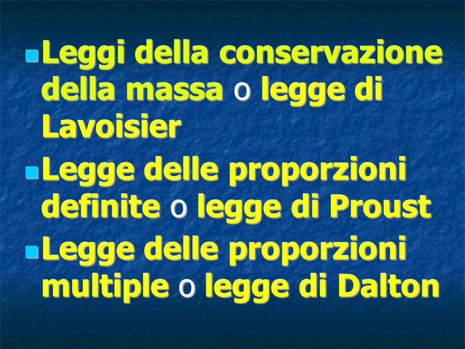Leggi della conservazione della massa o legge di Lavoisier