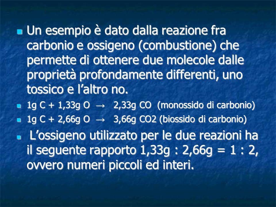 Un esempio è dato dalla reazione fra carbonio e ossigeno (combustione) che permette di ottenere due molecole dalle proprietà profondamente differenti, uno tossico e l'altro no.