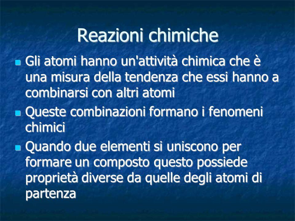 Reazioni chimiche Gli atomi hanno un attività chimica che è una misura della tendenza che essi hanno a combinarsi con altri atomi.
