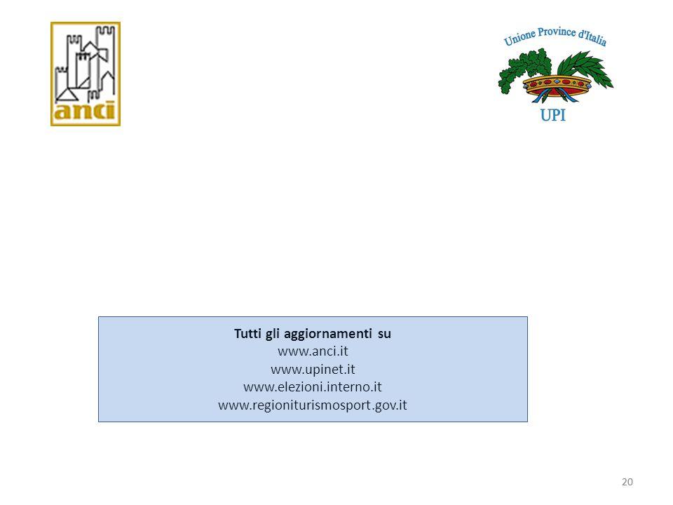 Tutti gli aggiornamenti su www. anci. it www. upinet. it www. elezioni