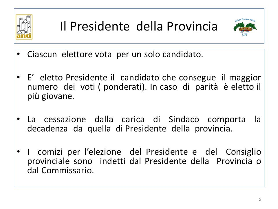 Il Presidente della Provincia