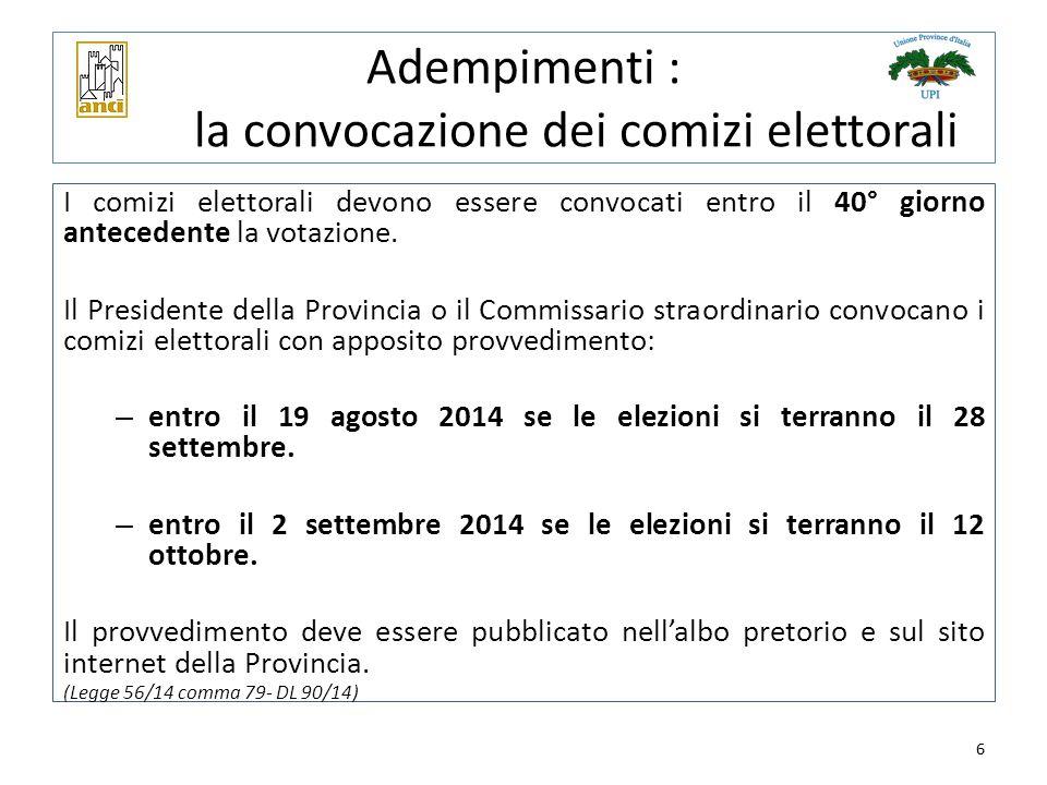 Adempimenti : la convocazione dei comizi elettorali