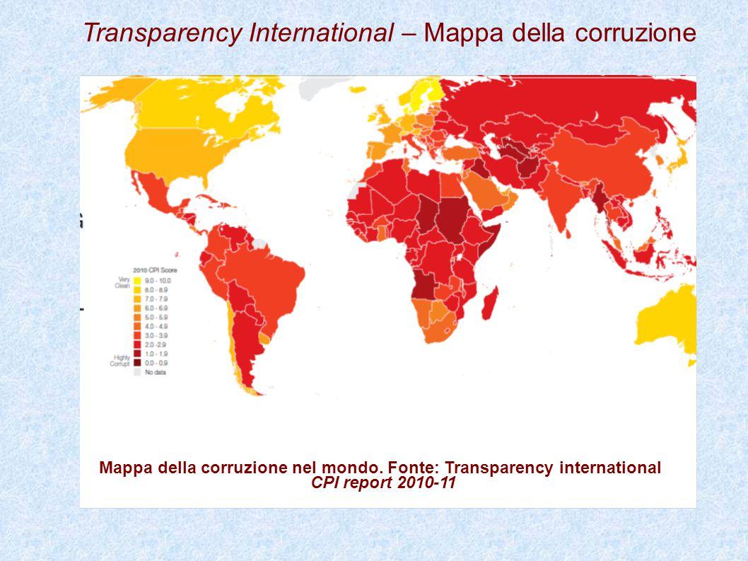Mappa della corruzione nel mondo. Fonte: Transparency international