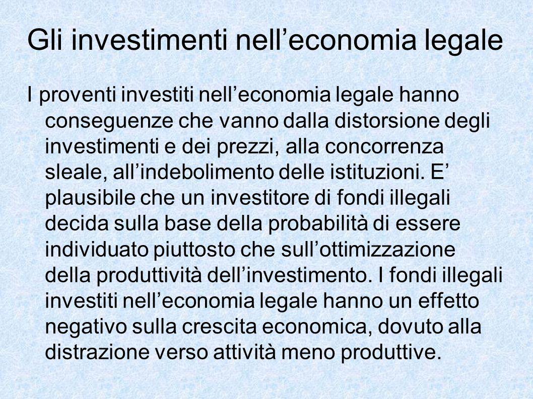 Gli investimenti nell'economia legale