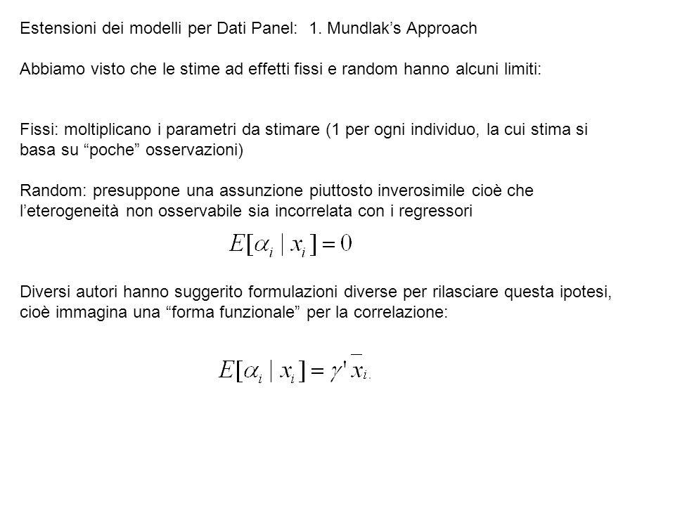 Estensioni dei modelli per Dati Panel: 1. Mundlak's Approach