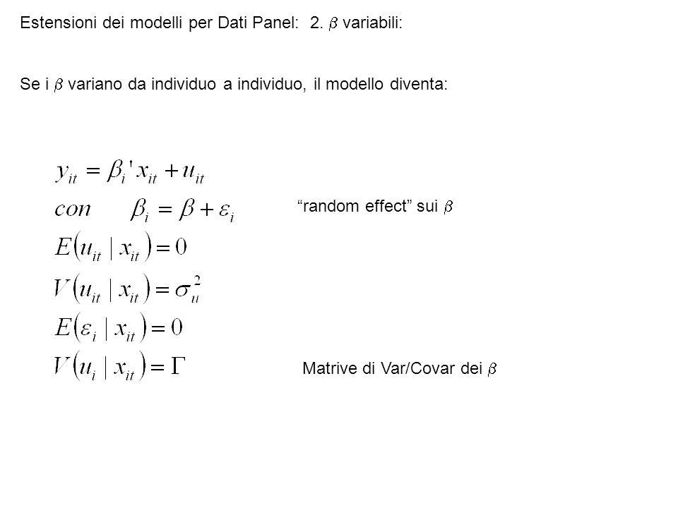 Estensioni dei modelli per Dati Panel: 2.  variabili: