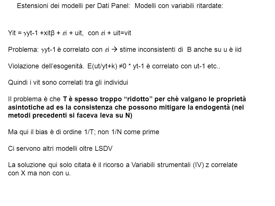 Estensioni dei modelli per Dati Panel: Modelli con variabili ritardate: