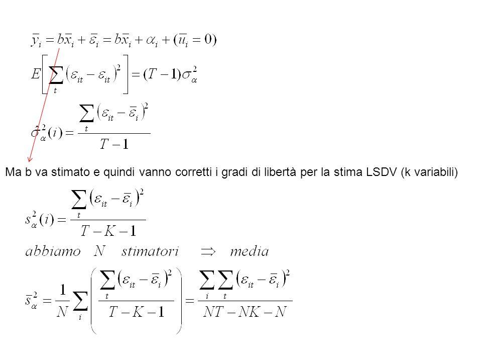 Ma b va stimato e quindi vanno corretti i gradi di libertà per la stima LSDV (k variabili)