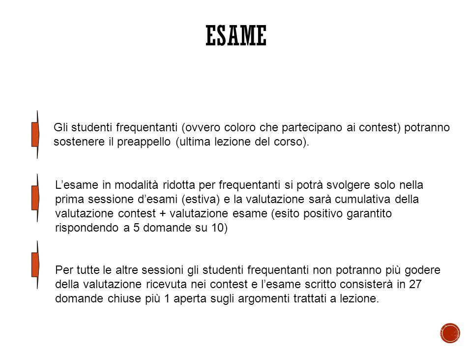 ESAME Gli studenti frequentanti (ovvero coloro che partecipano ai contest) potranno sostenere il preappello (ultima lezione del corso).