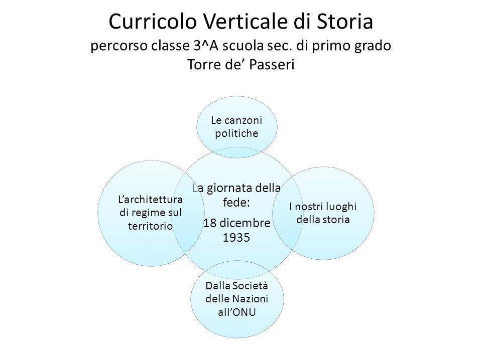 Curricolo Verticale di Storia percorso classe 3^A scuola sec