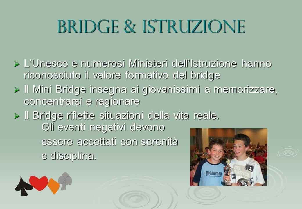 Bridge & istruzione L'Unesco e numerosi Ministeri dell'Istruzione hanno riconosciuto il valore formativo del bridge.