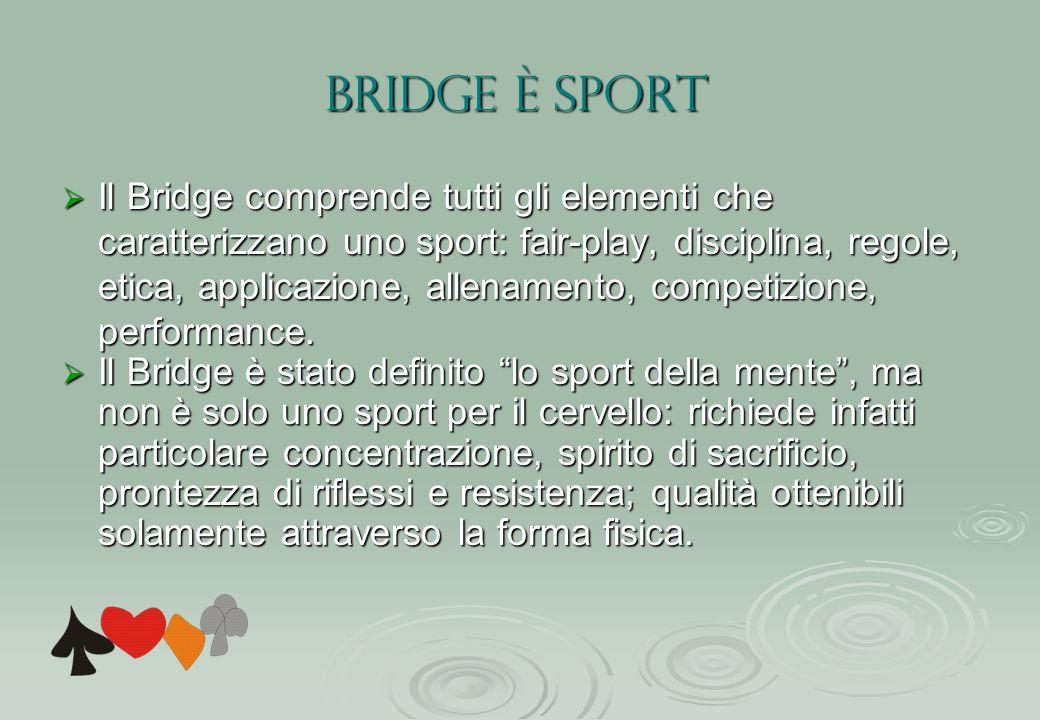 BRIDGE è SPORT Il Bridge comprende tutti gli elementi che