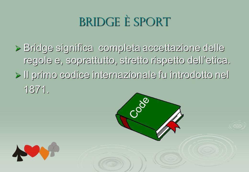 BRIDGE è SPORT Bridge significa completa accettazione delle