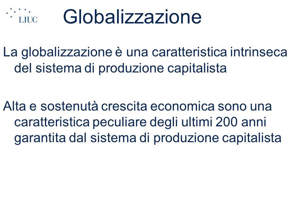 Globalizzazione La globalizzazione è una caratteristica intrinseca del sistema di produzione capitalista.