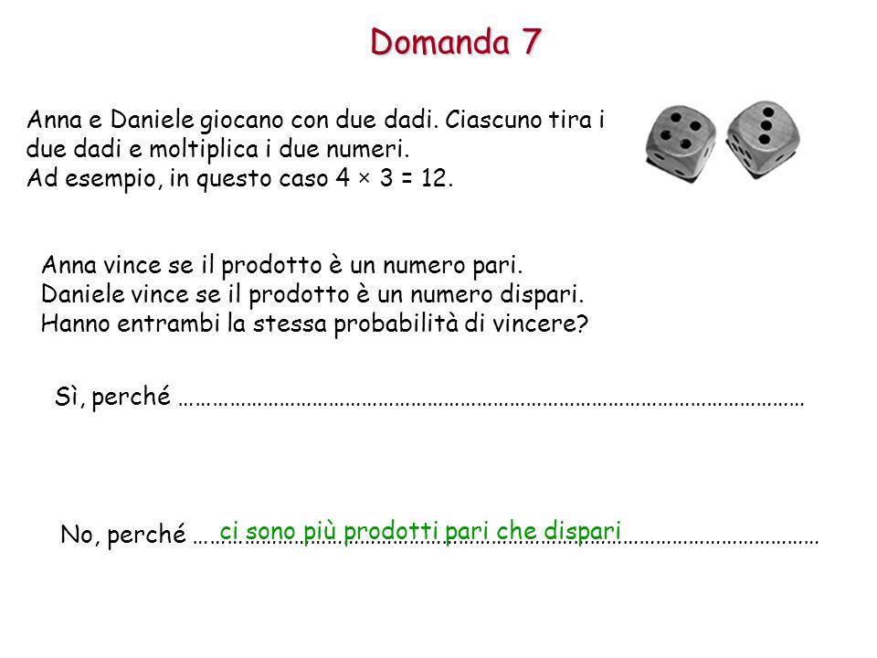 Domanda 7 Anna e Daniele giocano con due dadi. Ciascuno tira i due dadi e moltiplica i due numeri. Ad esempio, in questo caso 4 × 3 = 12.