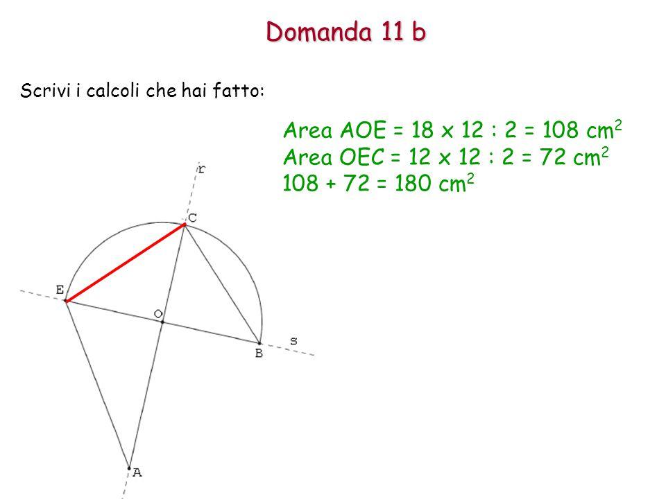 Domanda 11 b Area AOE = 18 x 12 : 2 = 108 cm2