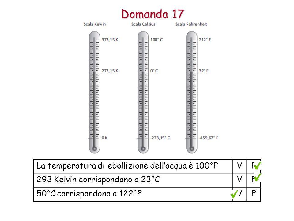 Domanda 17 La temperatura di ebollizione dell'acqua è 100°F V F