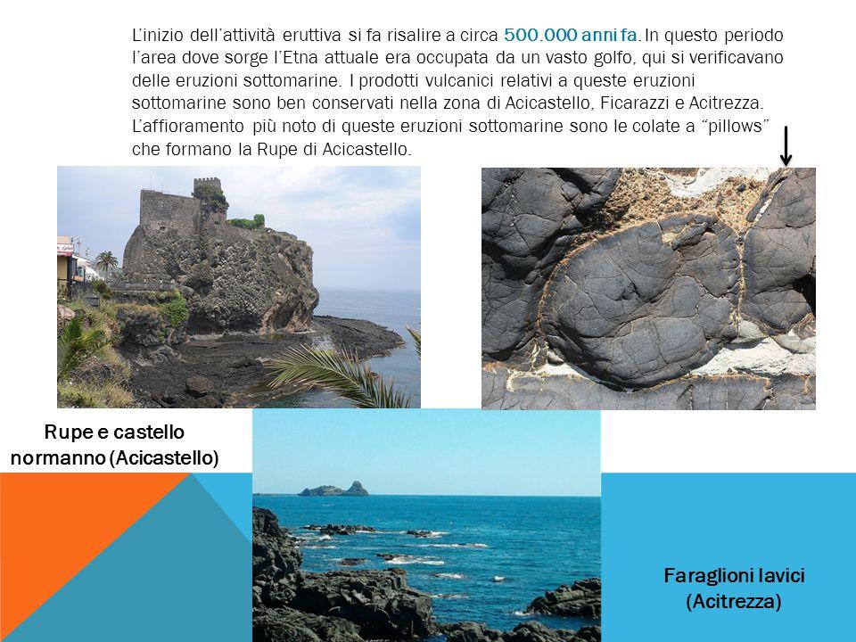 Rupe e castello normanno (Acicastello) Faraglioni lavici (Acitrezza)
