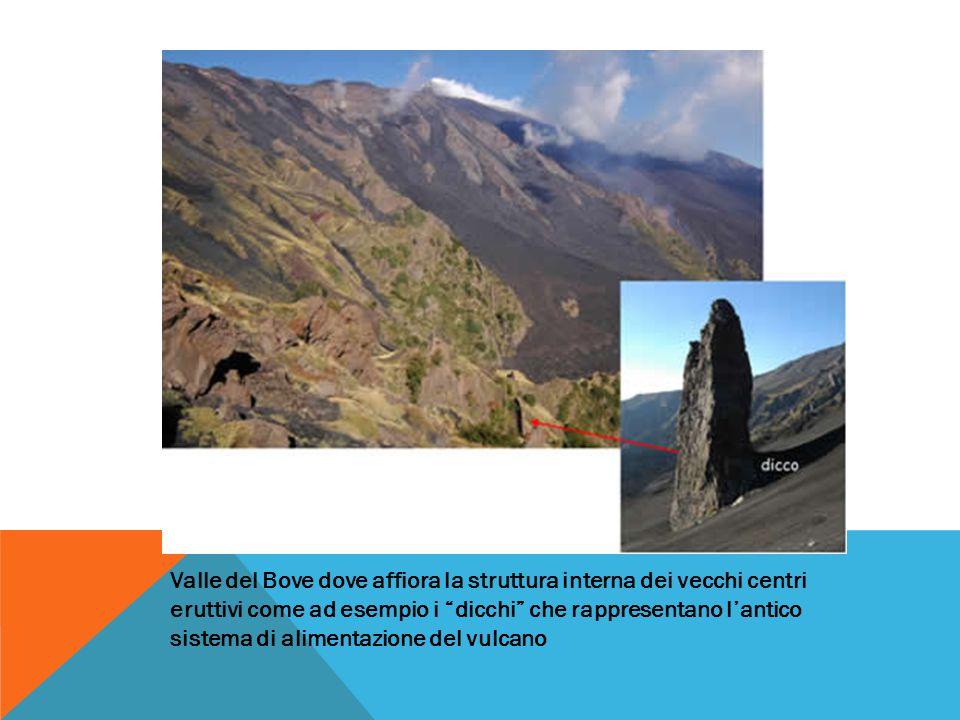 Valle del Bove dove affiora la struttura interna dei vecchi centri eruttivi come ad esempio i dicchi che rappresentano l'antico sistema di alimentazione del vulcano