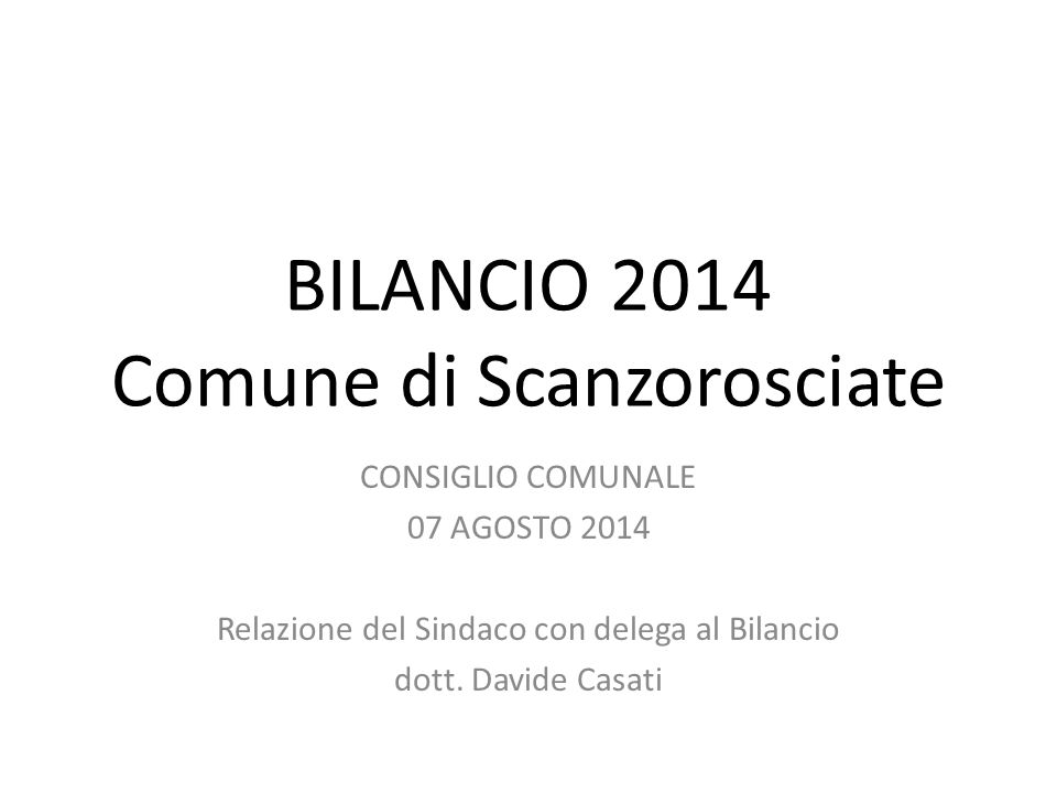 BILANCIO 2014 Comune di Scanzorosciate