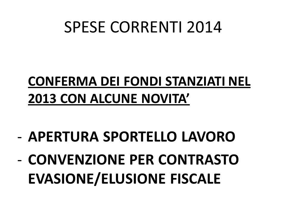 SPESE CORRENTI 2014 APERTURA SPORTELLO LAVORO