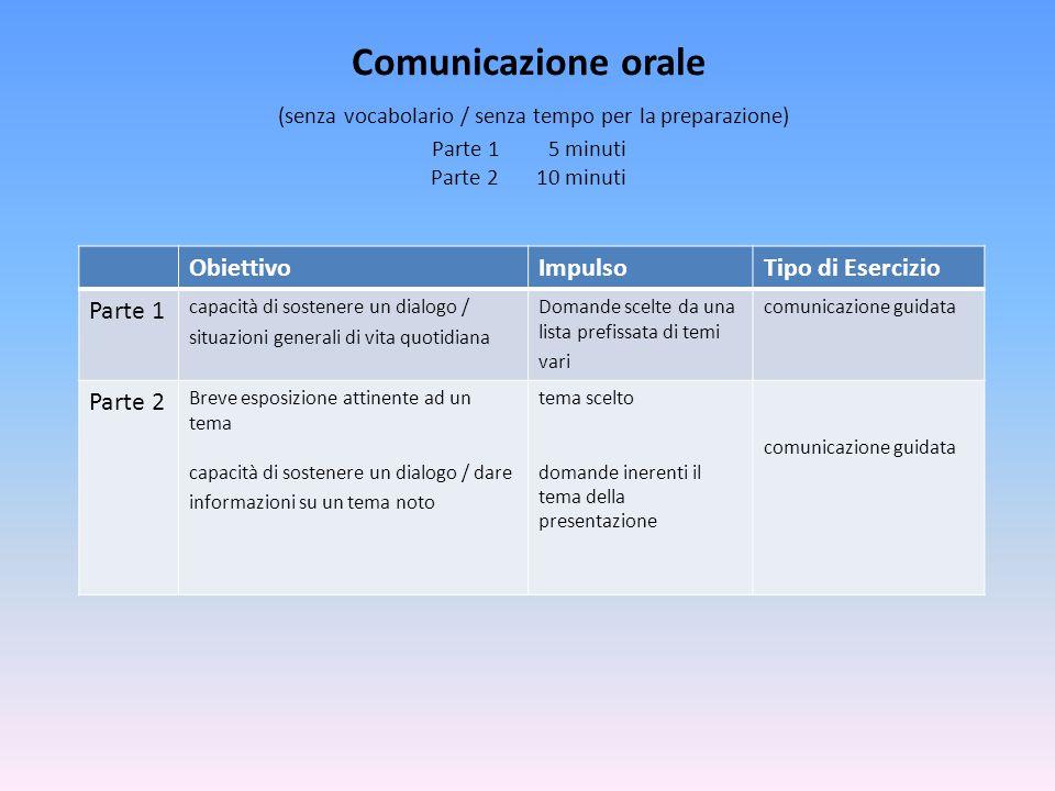 Comunicazione orale (senza vocabolario / senza tempo per la preparazione) Parte 1 5 minuti Parte 2 10 minuti