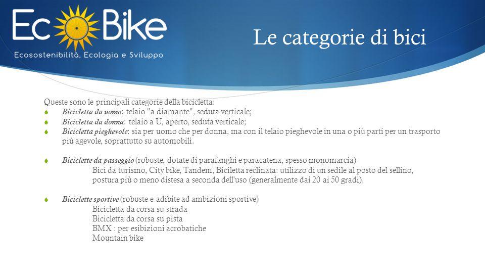 Le categorie di bici Queste sono le principali categorie della bicicletta: Bicicletta da uomo: telaio a diamante , seduta verticale;