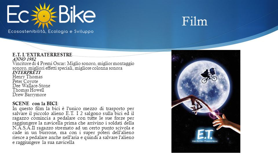 Film E.T. L EXTRATERRESTRE. ANNO 1982.
