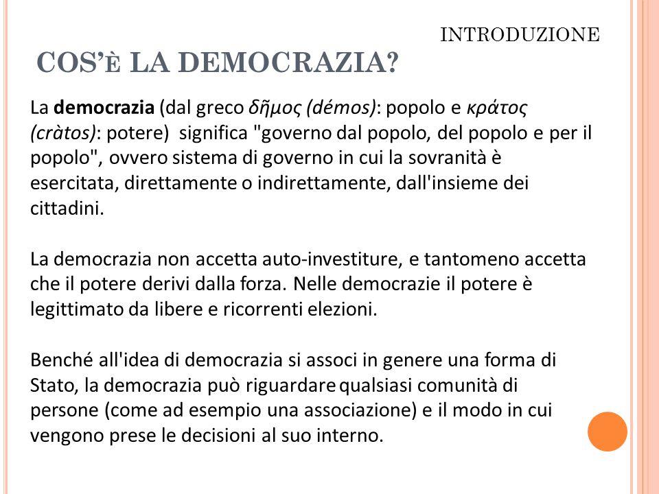 INTRODUZIONE COS'è LA DEMOCRAZIA