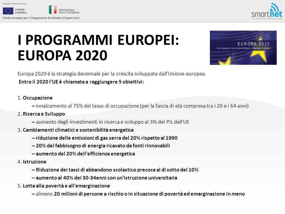 I PROGRAMMI EUROPEI: EUROPA 2020