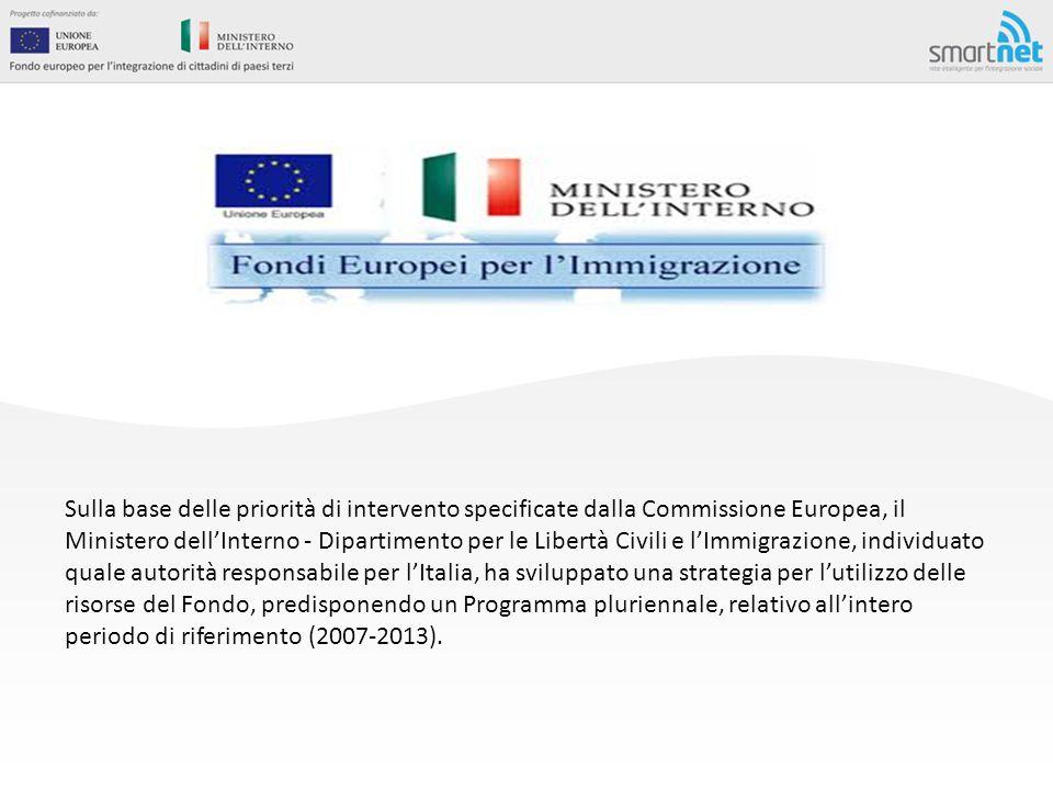 Sulla base delle priorità di intervento specificate dalla Commissione Europea, il Ministero dell'Interno - Dipartimento per le Libertà Civili e l'Immigrazione, individuato quale autorità responsabile per l'Italia, ha sviluppato una strategia per l'utilizzo delle risorse del Fondo, predisponendo un Programma pluriennale, relativo all'intero periodo di riferimento (2007-2013).