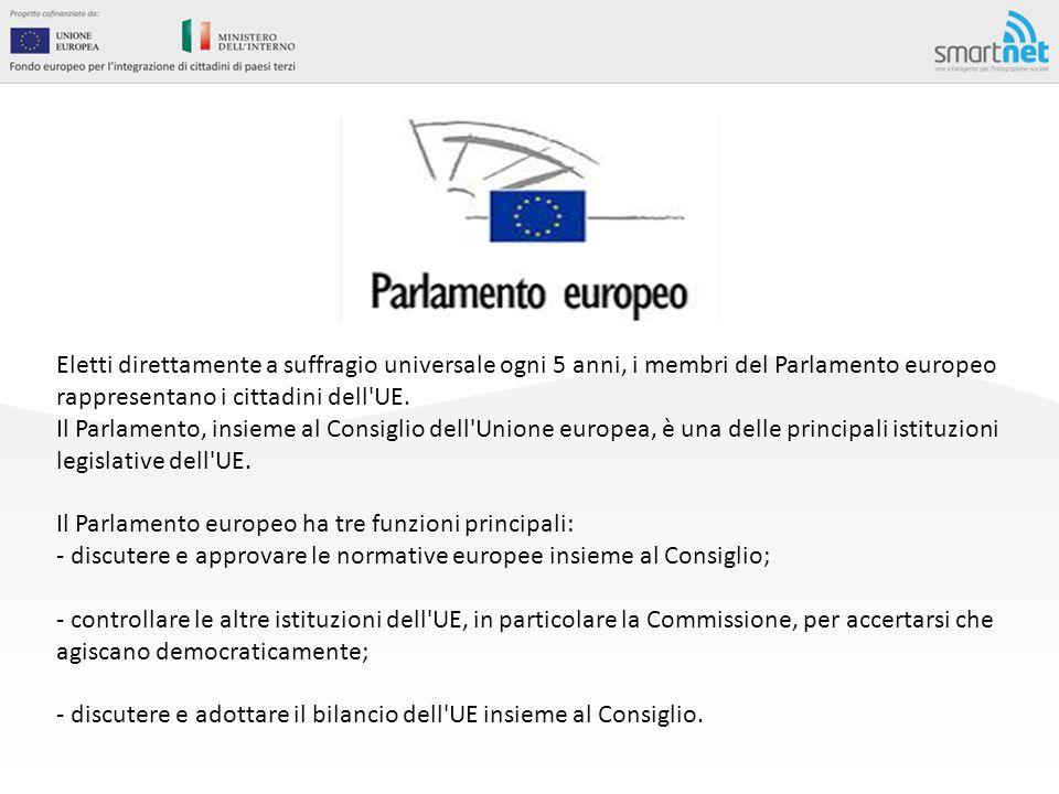 Eletti direttamente a suffragio universale ogni 5 anni, i membri del Parlamento europeo rappresentano i cittadini dell UE.