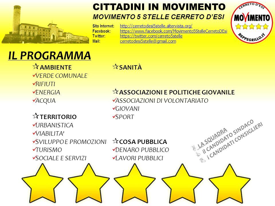 IL PROGRAMMA CITTADINI IN MOVIMENTO MOVIMENTO 5 STELLE CERRETO D'ESI