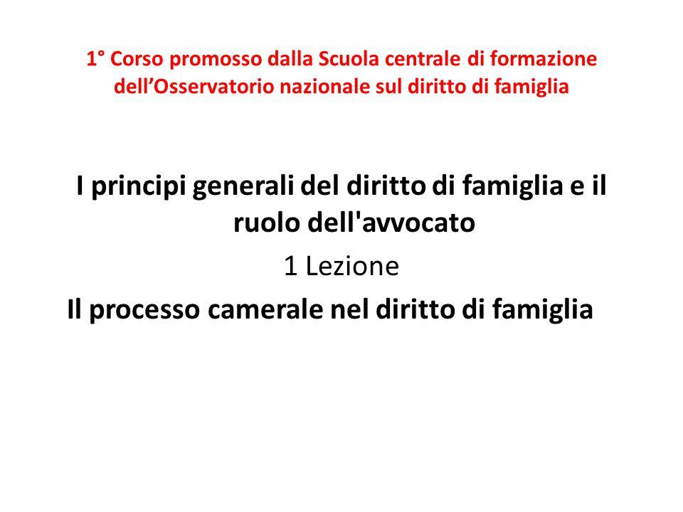 1° Corso promosso dalla Scuola centrale di formazione dell'Osservatorio nazionale sul diritto di famiglia