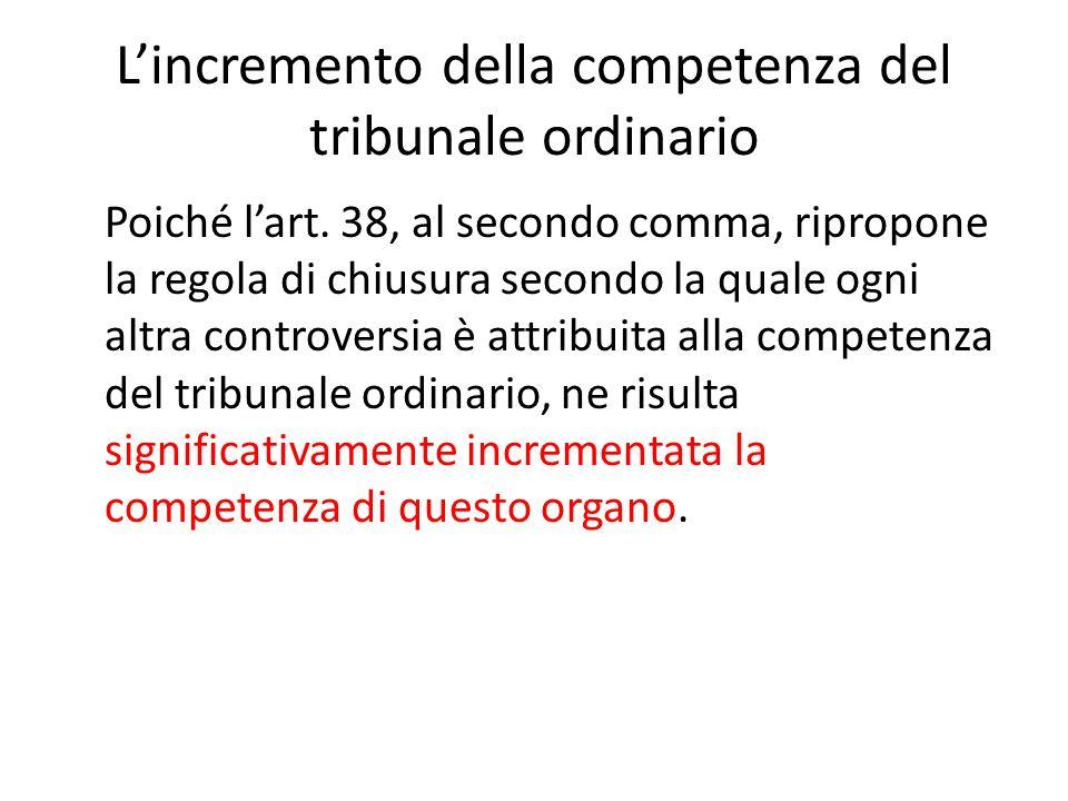 L'incremento della competenza del tribunale ordinario