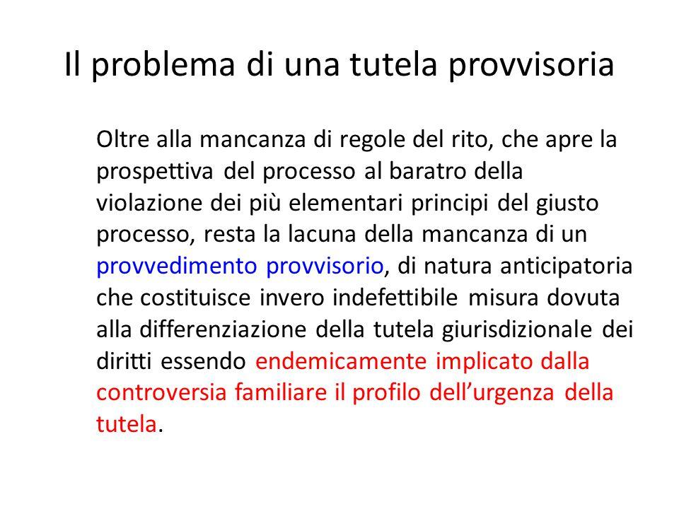 Il problema di una tutela provvisoria
