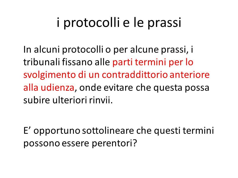 i protocolli e le prassi