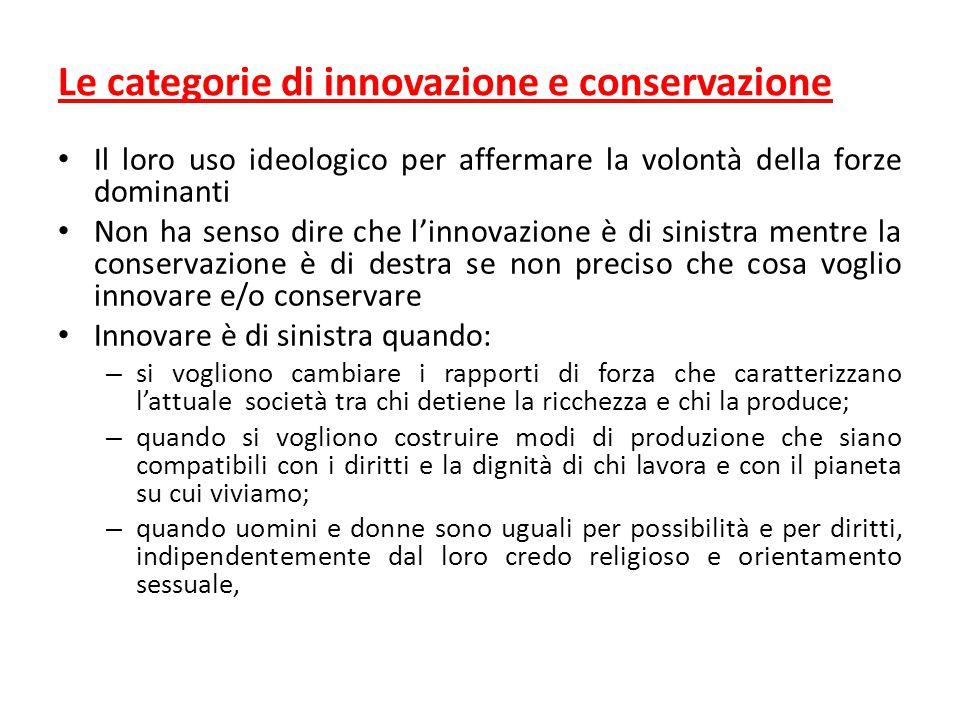 Le categorie di innovazione e conservazione